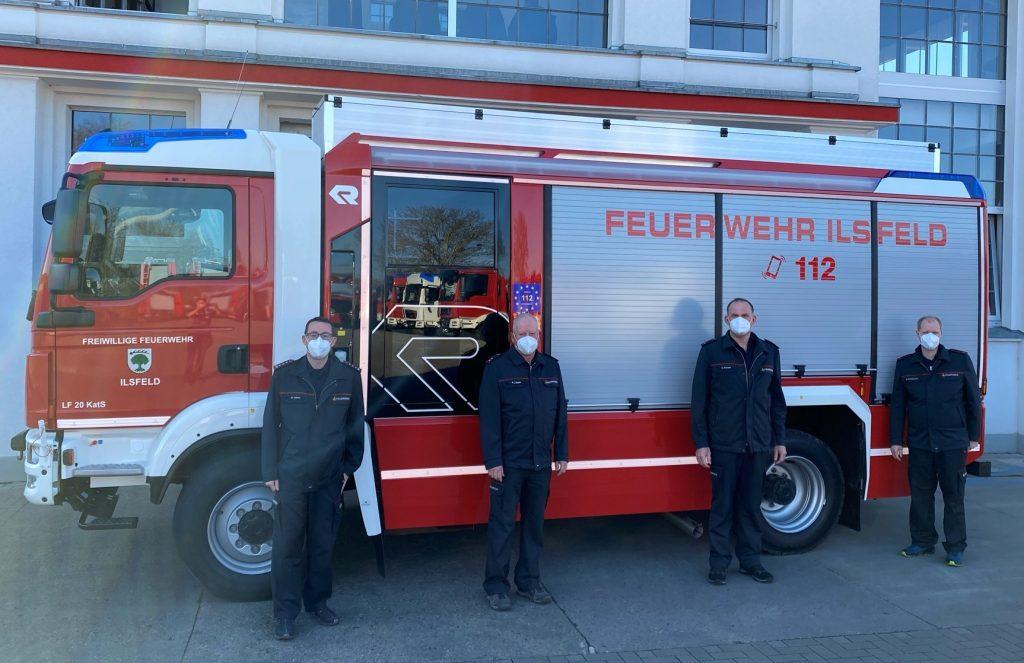 Die Abnahme und Abholung des Fahrzeugs erfolgte durch Steffen Heber, Rainer Läpple, Uwe Schock und Marcel Rinkenauer (v.l.)